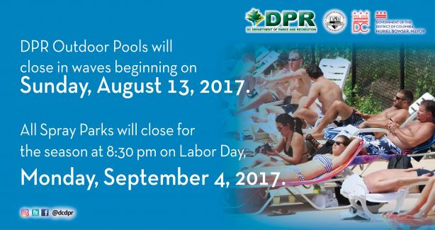 DPR 2017 Outdoor Pools and Spray Parks Closure Schedule