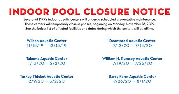 Indoor Pool Maintenance Closure Schedule