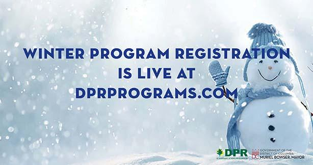 Photo of snowman with text: Winter program registration Is live at dprprograms.com