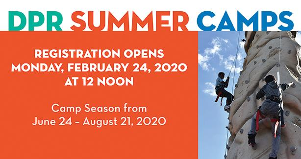 DPR Summer Camp Registration opens on Monday February 24, at 12 noon.