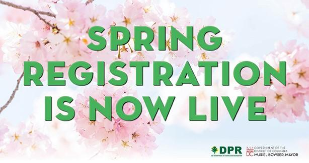 Text: Spring Registration Is Now Live, with a pink floral background