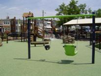Swings and slids at Noyes Park Playground