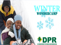 Kids in the snow with text: Winter Wondercamp