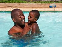 Father and son in a pool