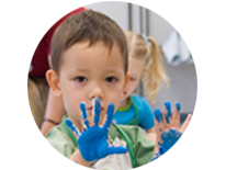 Kids with finger paints